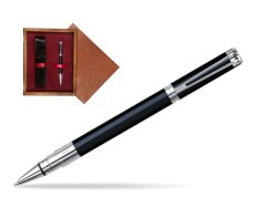 Waterman Perspective Black CT Rollerball pen in single wooden box Mahogany Single Maroon