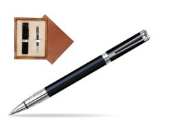 Waterman Perspective Black CT Rollerball pen in single wooden box  Mahogany Single Ecru