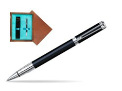 Waterman Perspective Black CT Rollerball pen in single wooden box  Mahogany Single Turquoise