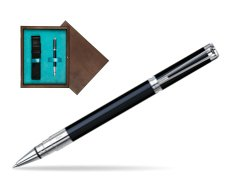Waterman Perspective Black CT Rollerball pen in single wooden box  Wenge Single Turquoise