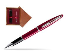 Waterman Carène Glossy Red CT Rollerball pen in single wooden box Mahogany Single Maroon