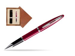 Waterman Carène Glossy Red CT Rollerball pen in single wooden box  Mahogany Single Ecru