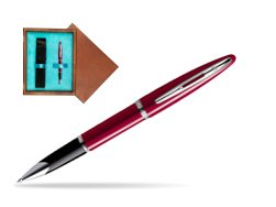 Waterman Carène Glossy Red CT Rollerball pen in single wooden box  Mahogany Single Turquoise