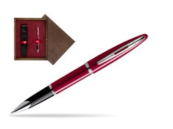 Waterman Carène Glossy Red CT Rollerball pen in single wooden box  Wenge Single Maroon