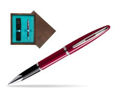 Waterman Carène Glossy Red CT Rollerball pen in single wooden box  Wenge Single Turquoise