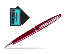Waterman Carène Glossy Red CT Ballpoint pen  single wooden box  Black Single Turquoise