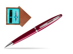 Waterman Carène Glossy Red CT Ballpoint pen in single wooden box  Mahogany Single Turquoise