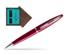 Waterman Carène Glossy Red CT Ballpoint pen in single wooden box  Wenge Single Turquoise