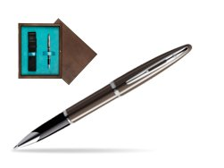 Waterman Carène Frosty Brown CT Rollerball pen in single wooden box  Wenge Single Turquoise