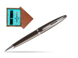 Waterman Carène Frosty Brown CT Ballpoint pen in single wooden box  Mahogany Single Turquoise