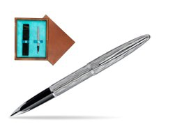 Waterman Carène Essential Silver ST Fountain pen in single wooden box  Mahogany Single Turquoise