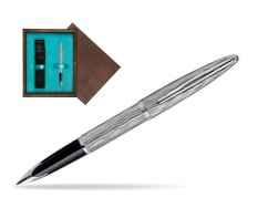Waterman Carène Essential Silver ST Fountain pen in single wooden box  Wenge Single Turquoise