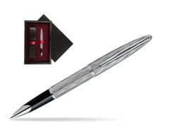 Waterman Carène Essential Silver ST Rollerball pen  single wooden box  Black Single Maroon
