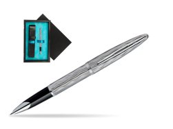 Waterman Carène Essential Silver ST Rollerball pen  single wooden box  Black Single Turquoise