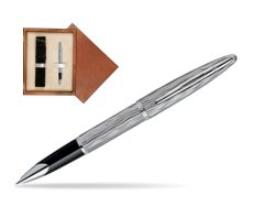 Waterman Carène Essential Silver ST Rollerball pen in single wooden box  Mahogany Single Ecru
