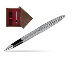 Waterman Carène Essential Silver ST Rollerball pen in single wooden box  Wenge Single Maroon