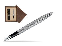 Waterman Carène Essential Silver ST Rollerball pen in single wooden box  Wenge Single Ecru