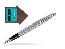 Waterman Carène Essential Silver ST Rollerball pen in single wooden box  Wenge Single Turquoise