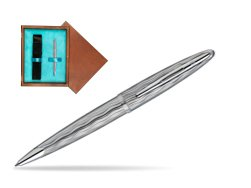 Waterman Carène Essential Silver ST Ballpoint pen in single wooden box  Mahogany Single Turquoise