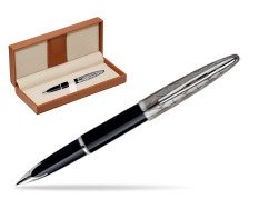 Waterman Carène Contemporary Black and Gunmetal ST Fountain pen  in classic box brown