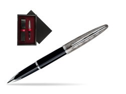 Waterman Carène Contemporary Black and Gunmetal ST Fountain pen  single wooden box  Black Single Maroon