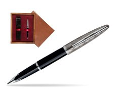 Waterman Carène Contemporary Black and Gunmetal ST Fountain pen in single wooden box Mahogany Single Maroon