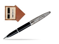 Waterman Carène Contemporary Black and Gunmetal ST Fountain pen in single wooden box  Mahogany Single Ecru