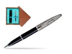 Waterman Carène Contemporary Black and Gunmetal ST Fountain pen in single wooden box  Mahogany Single Turquoise
