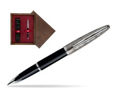 Waterman Carène Contemporary Black and Gunmetal ST Fountain pen in single wooden box  Wenge Single Maroon