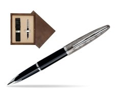 Waterman Carène Contemporary Black and Gunmetal ST Fountain pen in single wooden box  Wenge Single Ecru