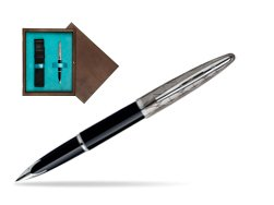 Waterman Carène Contemporary Black and Gunmetal ST Fountain pen in single wooden box  Wenge Single Turquoise