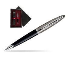 Waterman Carène Contemporary Black and Gunmetal Ballpoint pen ST  single wooden box  Black Single Maroon