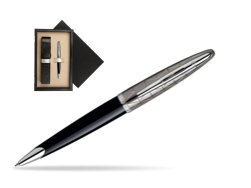 Waterman Carène Contemporary Black and Gunmetal Ballpoint pen ST  single wooden box  Wenge Single Ecru