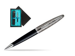Waterman Carène Contemporary Black and Gunmetal Ballpoint pen ST  single wooden box  Black Single Turquoise