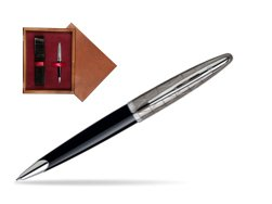 Waterman Carène Contemporary Black and Gunmetal Ballpoint pen ST in single wooden box Mahogany Single Maroon