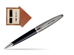 Waterman Carène Contemporary Black and Gunmetal Ballpoint pen ST in single wooden box  Mahogany Single Ecru