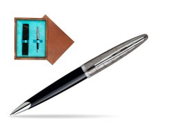 Waterman Carène Contemporary Black and Gunmetal Ballpoint pen ST in single wooden box  Mahogany Single Turquoise