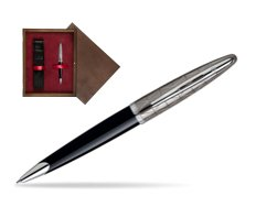 Waterman Carène Contemporary Black and Gunmetal Ballpoint pen ST in single wooden box  Wenge Single Maroon