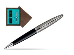 Waterman Carène Contemporary Black and Gunmetal Ballpoint pen ST in single wooden box  Wenge Single Turquoise