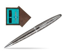 Waterman Carène Contemporary Gunmetal Ballpoint Pen ST in single wooden box  Wenge Single Turquoise