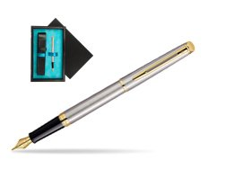 Waterman Hémisphère Stainless Steel GT Fountain pen  single wooden box  Black Single Turquoise