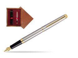Waterman Hémisphère Stainless Steel GT Fountain pen in single wooden box Mahogany Single Maroon