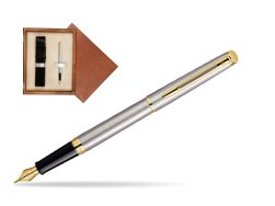 Waterman Hémisphère Stainless Steel GT Fountain pen in single wooden box  Mahogany Single Ecru