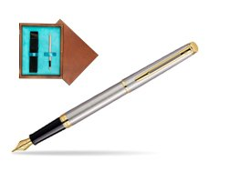 Waterman Hémisphère Stainless Steel GT Fountain pen in single wooden box  Mahogany Single Turquoise