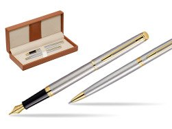Waterman Hémisphère Stainless Steel GT Fountain pen + Waterman Hémisphère Stainless Steel GT Ballpoint Pen  in classic box brown