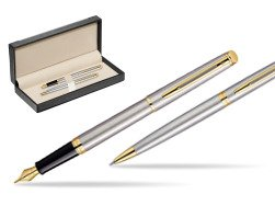 Waterman Hémisphère Stainless Steel GT Fountain pen + Waterman Hémisphère Stainless Steel GT Ballpoint Pen  in classic box  black