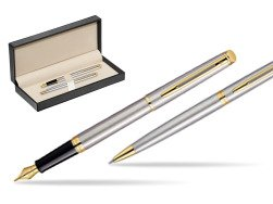 Waterman Hémisphère Stainless Steel GT Fountain pen + Waterman Hémisphère Stainless Steel GT Ballpoint Pen  in classic box  pure black