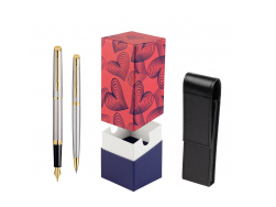 Waterman Hémisphère Stainless Steel GT Fountain pen + Waterman Hémisphère Stainless Steel GT Ballpoint Pen in gift box  StandUP Hot Hearts