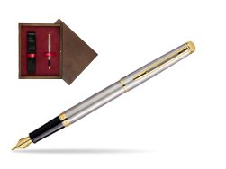 Waterman Hémisphère Stainless Steel GT Fountain pen in single wooden box  Wenge Single Maroon