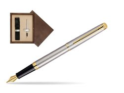 Waterman Hémisphère Stainless Steel GT Fountain pen in single wooden box  Wenge Single Ecru